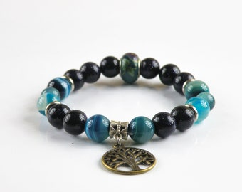 Tree of Life Bracelet, Agate Bracelet, Quartz Bracelet, Healing Bracelet, Calming Bracelet, Chakra Bracelet, Yoga Bracelet,Handmade Bracelet