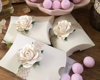 Wedding Favour Gift Box - Pink or Ivory Rose