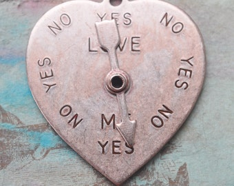 Moving arrow heart charm spinner, Brass Stamping, Heart Charm, Rose ox, Craft Supplies by Calliopes Attic
