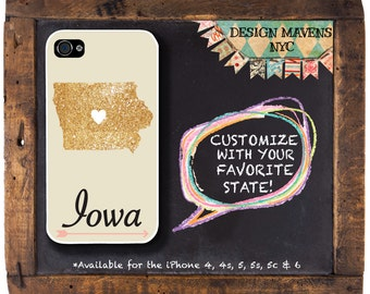 Iowa iPhone Case, Glitter iPhone Case, Personalized State iPhone Case, iPhone 7, 7 Plus, iPhone 6, 6s, 6 plus, SE, iPhone 5, 5s, 5c, 4, 4s