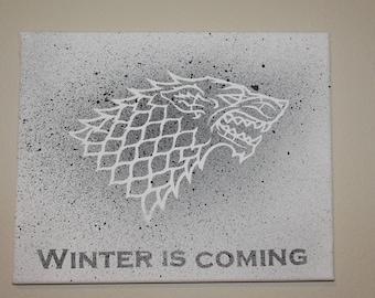 Game of Thrones Winter is coming House Stark splatter canvas art