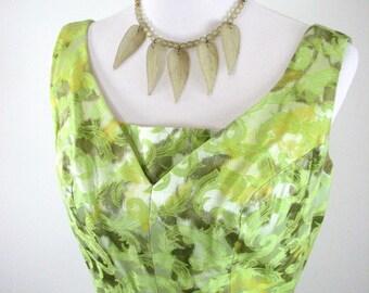 1960s  Green Satin Brocade Ensemble of Dress, Jacket, and Hat.....  Custom Made..... size Medium......   FABULOUS 60s  FIND