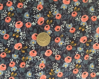Rifle Paper Co Fabric Les Fleurs Navy Pink