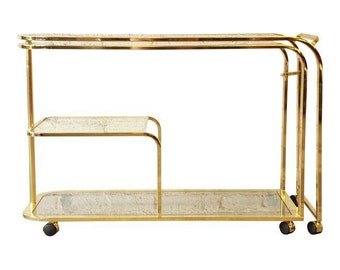Milo Baughman for DIA Expandable Brass and Glass Bar Cart / Hollywood Regency Tea Cart / Designer Furniture
