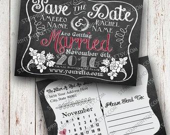 Save The Date, Chalk, Chalkboard, Rustic, Custom Printable, Custom Wedding, Custom Sign, Personalized, Rustic Save The Date Postcard, Bridal