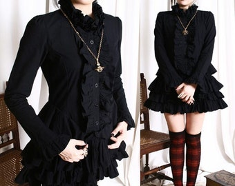 Nana Babydoll Gothic Punk Lolita Mourn Tux Ruff Collar Little Black Dress Tunic