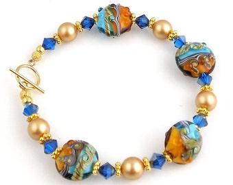 Blue Seas Beaded Lampwork Bracelet , Beadwork Bracelet, Glass Beads Bracelet, Gifts for Her, Wedding Jewelry, Career Wear, Dressy Bracelet