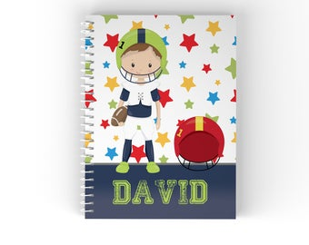 Sports Personalized Notebook - Sports Boy Star Solid Bar with Name, Customized Spiral Notebook Back to School