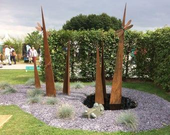 garden sculpture. Dragonflies On Blades; Rusted Metal And Bronze Garden Sculpture; Sculpture