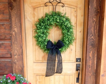 BOXWOOD Wreath-Fall Wreath-Outdoor Wreath-Faux Boxwood Door Wreath-Year Round Wreath-Home Decor-Artificial Wreath-Custom Made USA-Gifts