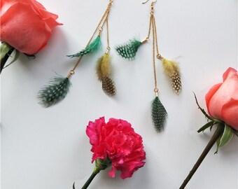 2018 New Design Long Feather Earrings Guinea Feather Earrings Gold Earrings
