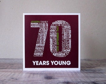 70th Birthday Personalised Card - Personalized 70th Birthday Card - Birthday Card for Him - Birthday Card for Her - Seventy Years Old