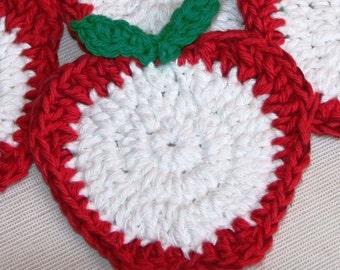 4 Crochet Fruit Apple Slice coaster mini doily Mat