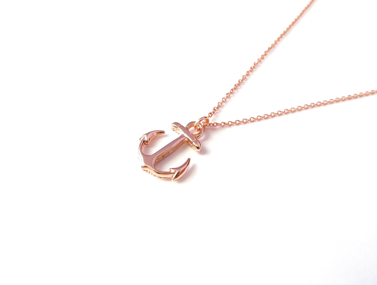 Rose Gold Anchor Necklace 14kt Rose Gold Filled Nautical