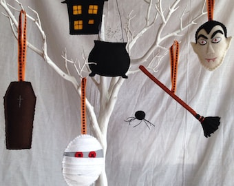 Halloween Decorations - Wool Felt - Dracula, Haunted House, Broomstick, Mummy, Coffin, Cauldron
