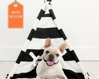 Pet Teepee Tent in Black and White Cotton Fabric - TENT & BAG ONLY