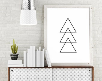 Triangle Printable Art, Geometric Printable Wall Art, Black and White Abstract Art, Triangle Digital Download, Minimalist Printable Decor