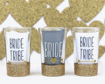 Gold Glitter Dipped Bride Tribe Bachelorette Party Shot Glasses Party Favors