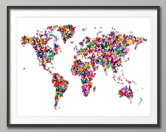 Butterflies Map of the World Map, Art Print (511)