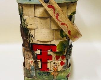 Memory Purse 1960s Texas Tech Memorabilia Woven Basket Handbag Caro Nan Style