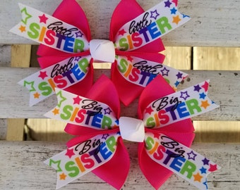 Matching BIG Sister or LITTLE Sister Colorful Hair Bow (4 inch)