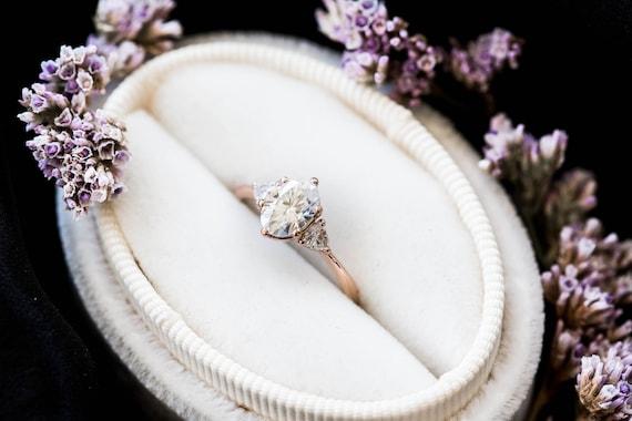Moissanite oval three stone 14k gold engagement ring, oval trillion three stone ring, moissanite engagement ring, unique engagement