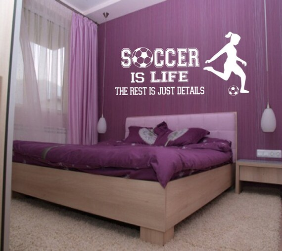 Soccer is Life Wall Decal Girl player soccer wall decor