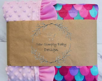 Mermaid inspired minky baby blanket with frilly pink trim, Mermaid scales, dragon scales, fish scales,
