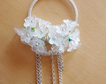 The Japan cherry, green, sparkly yarn necklace