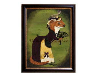 Victorian Lady Weasel Print