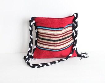 Vintage Woven Striped Market Tote, Crossbody BoHo Bag
