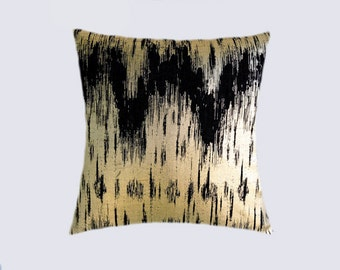 "Decorative pillow case, Decorative Black Gold fabric Throw pillow case, fits 18"" x 18"" insert, Toss pillow case, Cushion case."