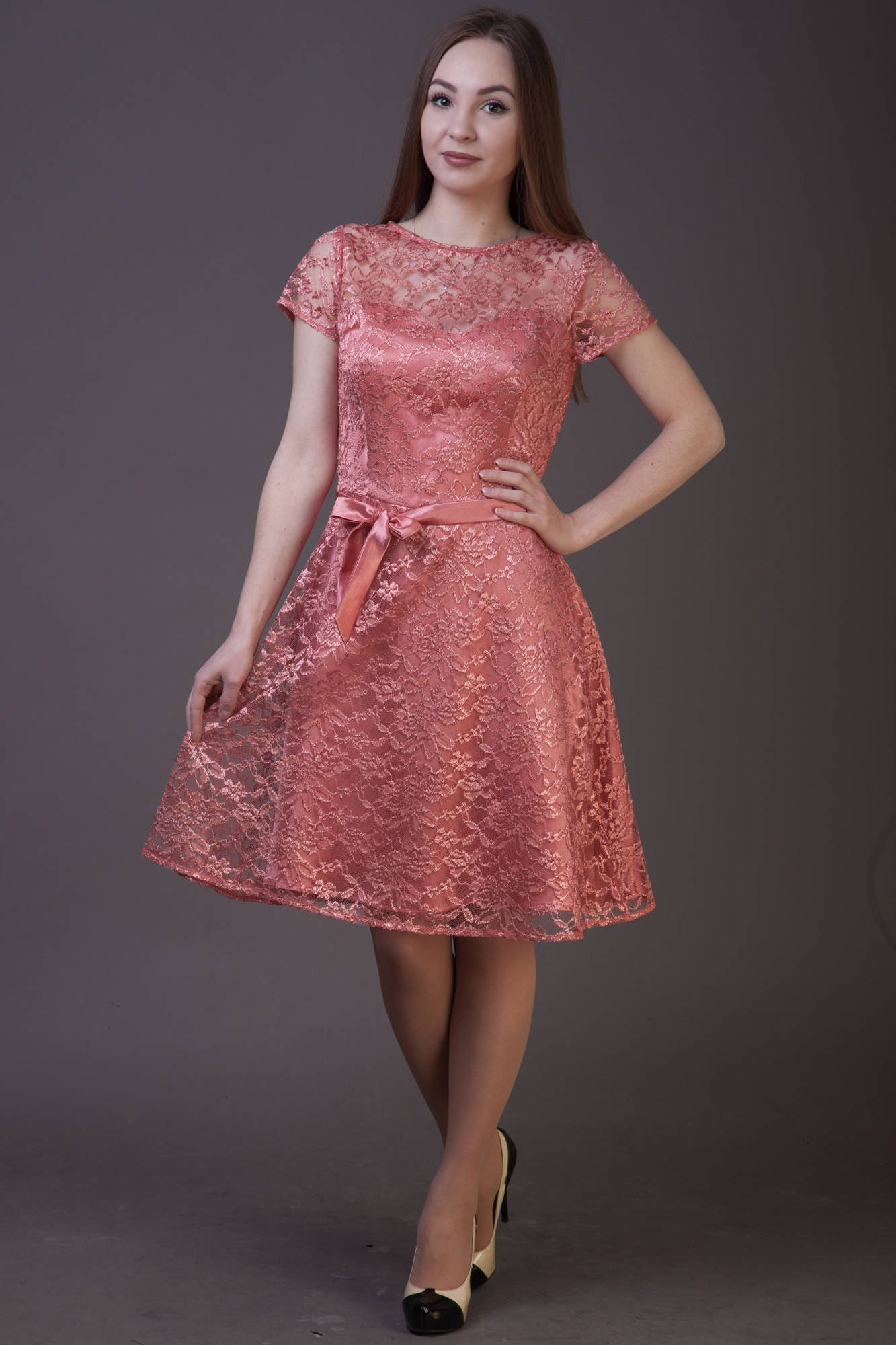 Salmon bridesmaid dress Salmon lace dress Dusty coral