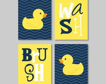 Kids Bathroom Art - Kids Bathroom Decor - Rubber Duckie Bathroom Art - Rubber Duck Bath Art - Duck Bathroom. Duck Bath Art Prints. (NS-590)