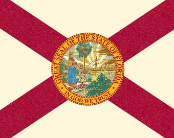 Florida State Flag - Letterpress (Art Prints available in multiple sizes)