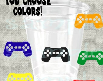24 Game controller decals vinyl game console party decorations game remote birthday party cup stickers party cup stickers party favor cup