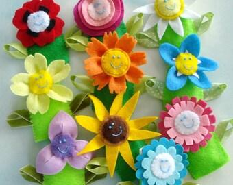 Flower Felt Finger Puppets  & Hair Accessories Sewing Pattern - PDF ePATTERN