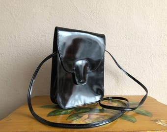Black Patent Leather Purse Shoulder Strap Vintage Nine West Made in Italy Genuine Leather