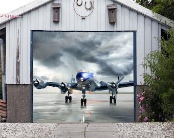 Airplane Single Garage Mural Door Cover, 3d Effect Plane Banner Full Color,  Billboard Decor