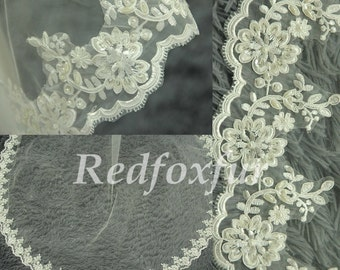 Lace cathedral veil, hand-beaded wedding veils, bridal veil, lace veil, chapel veil, elegant ivory veil, wedding headpiece
