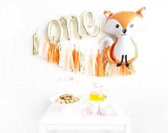 Fox First Birthday Party Box - one script balloons tassel garland - woodland party