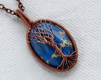 Jasper pendant - imperial jasper - oblong pendant - natural jasper - impression jasper - blue pendant - blue jasper pendant - emperor jasper