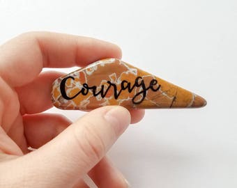 Courage worry stone - Lettered Jasper Slice stocking stuffer - Terrarium coffee table decor - graduation desk accessory - Natural Stone gift