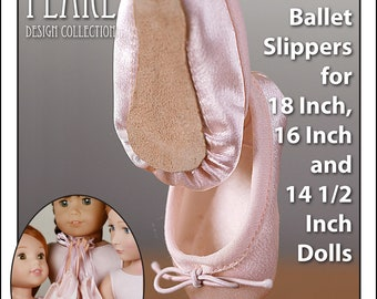 L&P #1075: Ballet Slippers Pattern for 18 Inch, 16 Inch and 14 1/2 Inch Dolls — ultra-realistic dance shoes that are easy to make too!