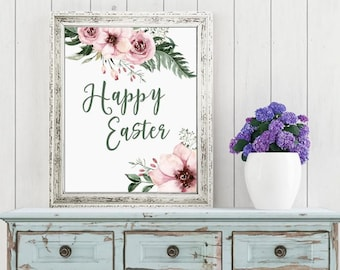 Easter Printable Digital Wall Art - Happy Easter - floral