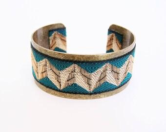 Blue zig - zag Ribbon and brass Cuff Bracelet