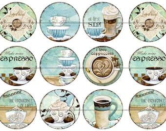 One Inch Flatback Coffee Magnets, Flatback Buttons or Pins 12ct.