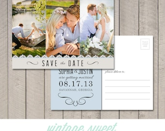 Save the Date Postcard (Printable) by Vintage Sweet