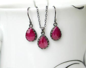 Ruby Teardrop Earrings Necklace Set | Pinkish Red Ruby Pear Briolettes | Oxidized Sterling Silver | Vintage Style | July Birthstone Gift