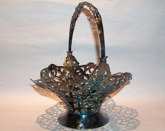 8572: Antique Forbes SP Co Brides Basket Filigree Silver-plated Late 1800's at Vintageway Furniture